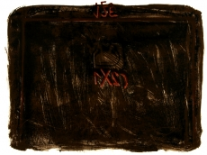 Antoni Tàpies: Gouache in red with lithograph in black and Siena