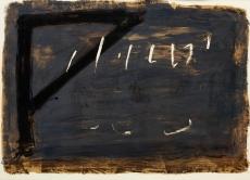 Antoni Tàpies: L. in schwarz, braun, rot u. olivgrün, 1965