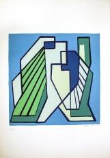 Mario Radice: Compositione Astratta Blu Verde, 1974