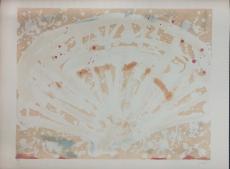 Antoni Tàpies: L. in orange, blau, 2 rosa, 1969