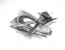 Rudolf Belling: Entwurf für Metallplatten und Draht I (2), 1967