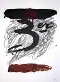 Antoni Tàpies: L. in schwarz, gelb, rot und grau, 1972
