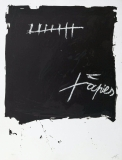 Antoni Tàpies: L. in schwarz, blau und rotbraun, 1968